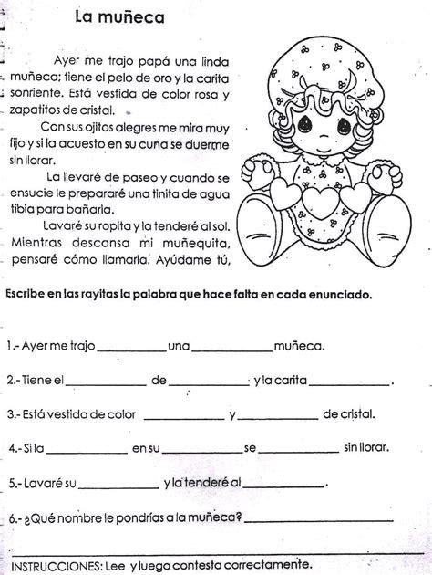 lectura para ninos de kinder en espanol fichas infantiles ficha de comprensi 243 n lectora para ni 241 os