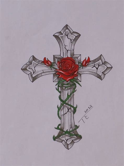 cross rose tattoo collection of 25 cross banner design
