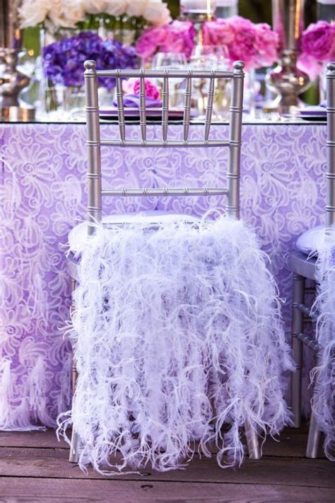 Gorgeous Lavender Reception Tables   at a Rustic Wedding