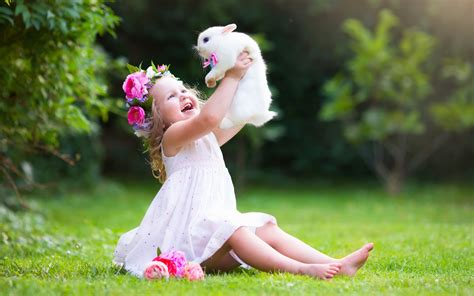 wallpaper girl little little girl and rabbit cute wallpaper for desktop in hd 4k