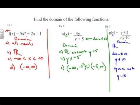 finding domain   function algebraically youtube