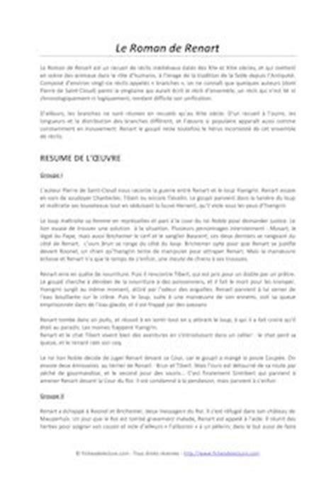 Renart Resume by De Renart R 233 Sum 233 S Chapitre Par Chapitre