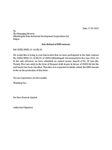Release Cheque Letter letter for refund of emd