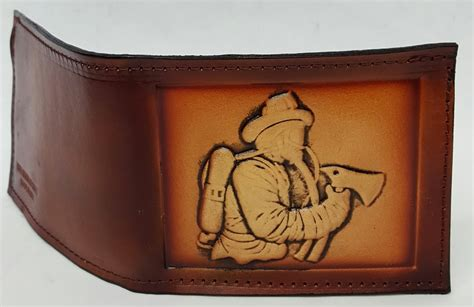 Handmade Leather Wallets Made In Usa - fireman embossed bifold leather wallet leather belts usa