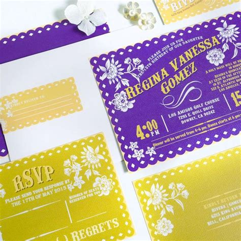 mexican themed quinceanera invitations purple and gold mexican fiesta inspired papel picado
