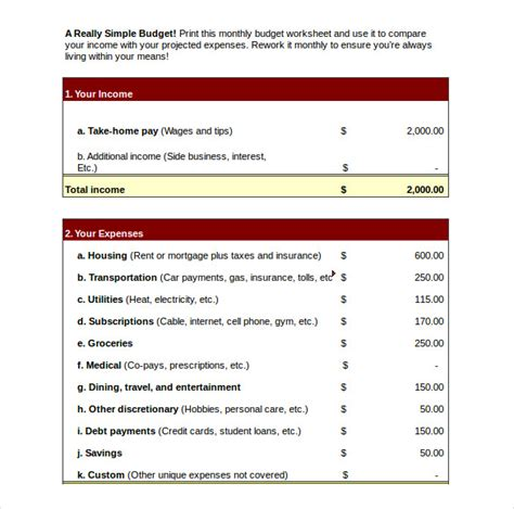 simple business budget template 10 weekly budget templates free sle exle format