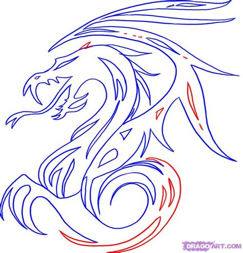 how to draw tribal dragon art archives pencil drawing