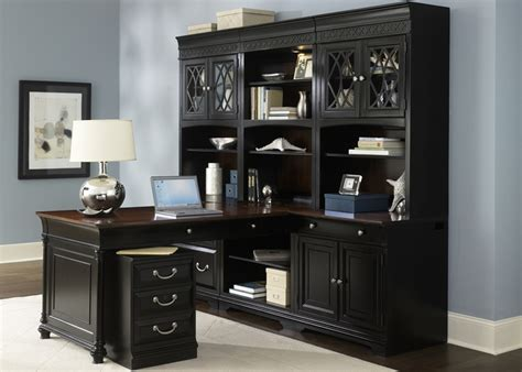 Peninsula Desk With Hutch by Corner L Shaped Office Desk With Hutch Black And Cherry Naindien L Shaped Desk With Hutch