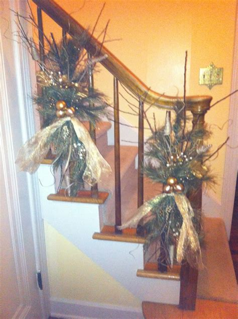 banister decor decorating banister christmas pinterest
