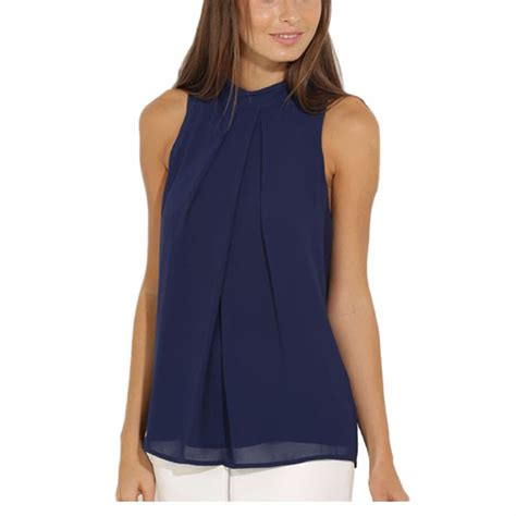 Casual Blouse cockcon summer blouse tops casual chiffon sleeveless