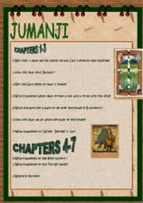 jumanji movie riddles english worksheet story jumanji