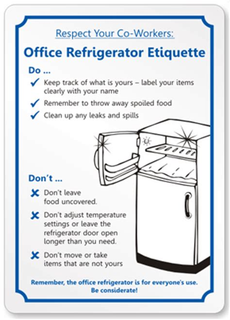 Office Pantry Etiquette by Office Refrigerator Etiquette
