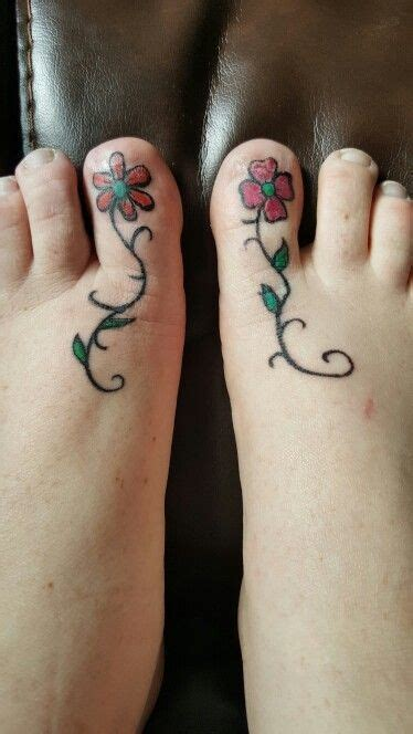 My Big Toe Discovery flower matching tattoos on big toes tattoos