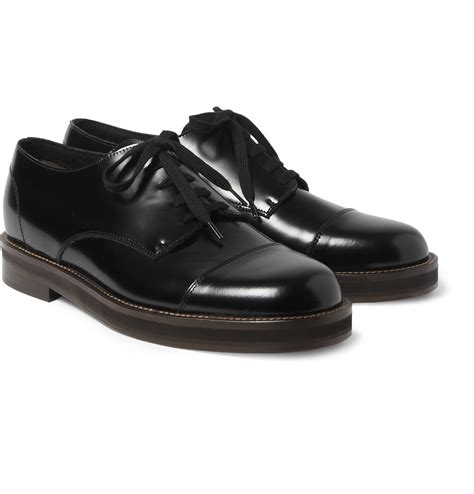 black leather shoes marni leather derby shoes in black for lyst