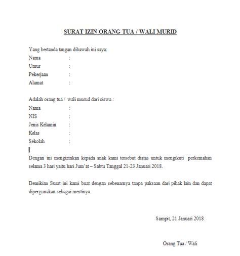 contoh surat izin kemah untuk orang tua pramuka