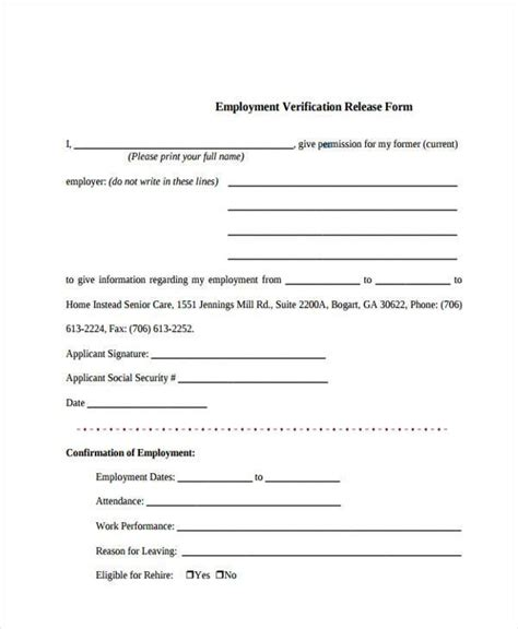 employment verification release form template sle employee release forms 8 free documents in word pdf