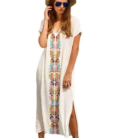 V Neck Embroidery Tunic 4350 ᑎ vintage mexican embroidered floral dress dress 2017 tunic casual v neck neck embroidered