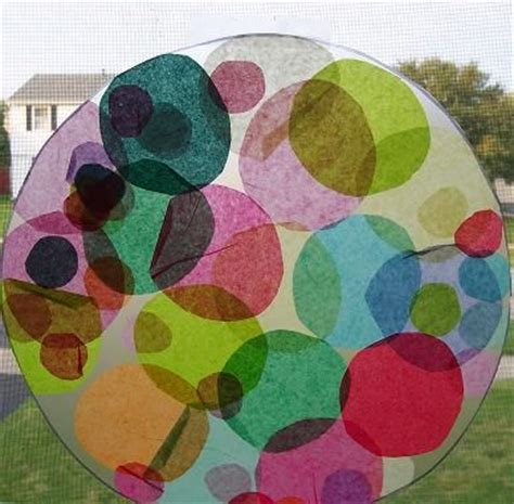 Tissue Paper Suncatcher Craft - sun catcher contact paper and tissue paper on
