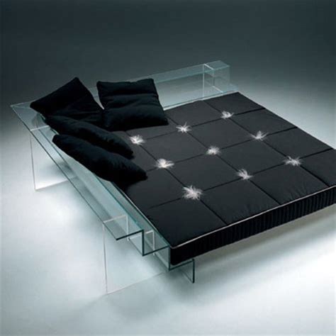 glass bed by italian studio santambrogio milano modern