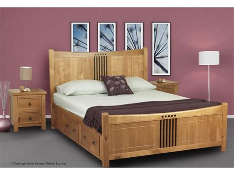 King Size Wooden Bed Frames With Drawers Sweet Dreams Curlew Oak 5ft King Size Wooden Bed Frame