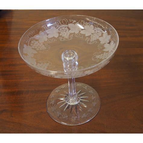 fine victorian engraved cut glass tazza la