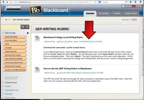 blackboard learn applying the qep rubric to a assignment