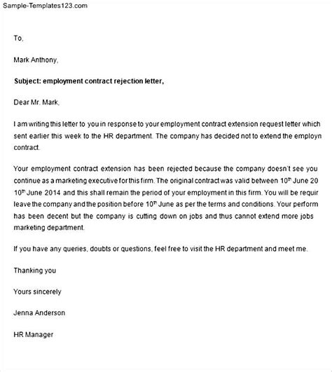 Contract Rejection Letter Employment Contract Rejection Letter Sle Templates