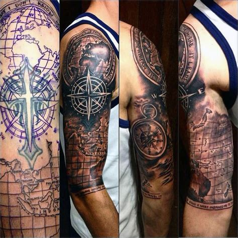 map tattoo sleeve 50 world map designs for adventure the globe
