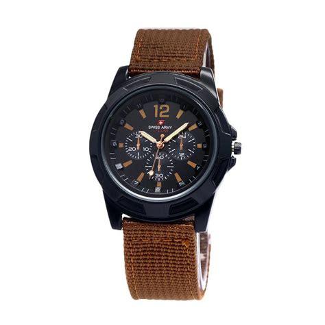 Jam Tangan Swiss Army Tali Kanvas jual swiss army tali kanvas jam tangan pria coklat