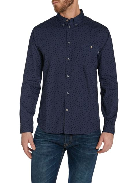 pattern long shirt paul smith pattern long sleeve button down shirt in blue