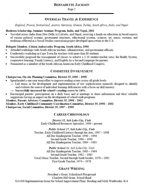 Resume Template For Early Childhood Resume Sle For Early Childhood Specialist