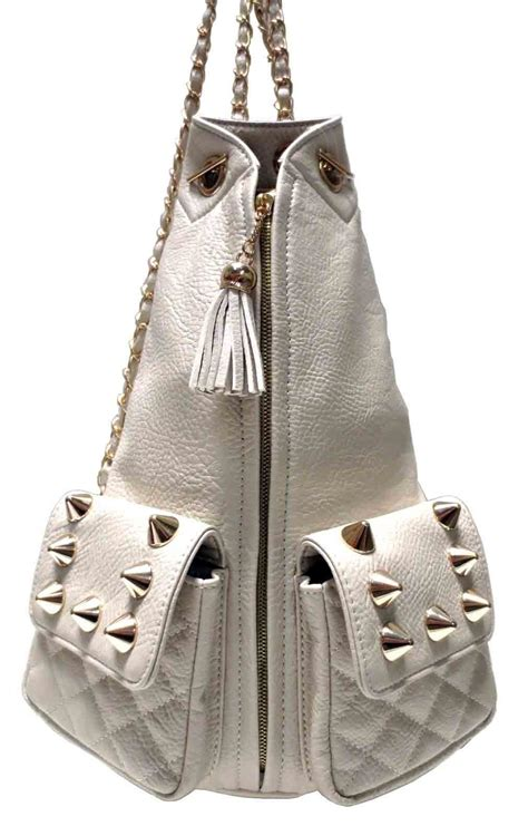 Chained Backpack ivory studded chained backpack