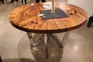 55 quot spectacular round dining table chrome steel legs natural exotic