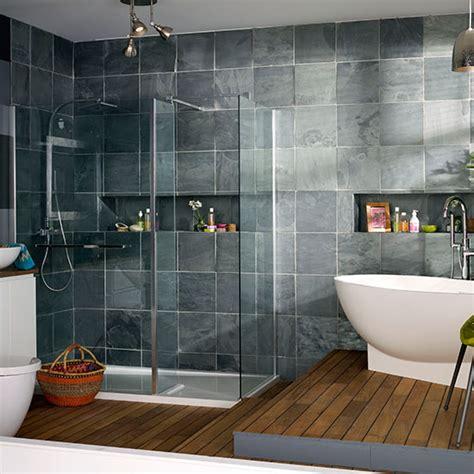slate grey bathroom modern bathroom with oak flooring and grey tiles