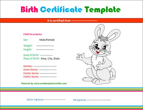 rabbit birth certificate template microsoft word templates birth certificate and
