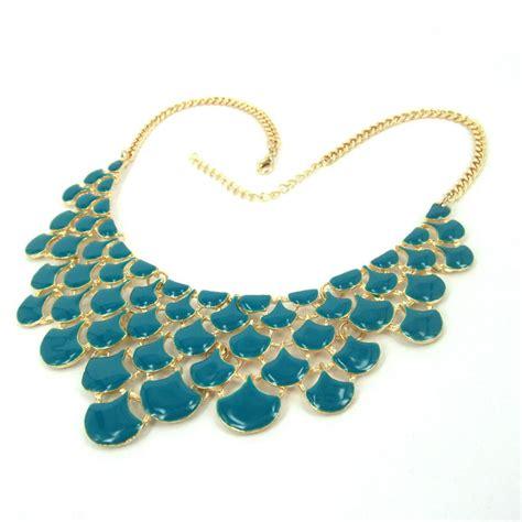 Babyblue Chocker Sabrina 4 vintage gold baby blue drip painting choker bib link statement necklace h4305 on luulla