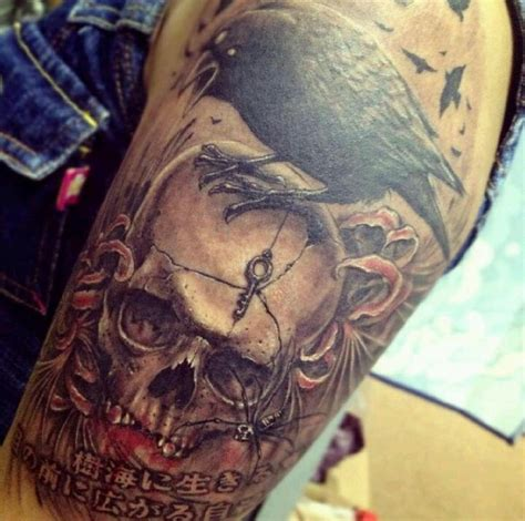 raven and skull tattoo skull designs i