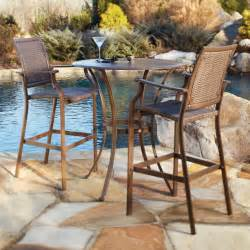 Outdoor Patio Table Sets Panama Island Cove Woven Slatted Bar Height Patio Pub Table Set Patio Dining Sets At