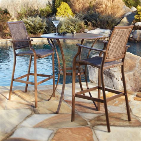 Patio Bar Table Set with Panama Island Cove Woven Slatted Bar Height Patio Pub Table Set Patio Dining Sets At