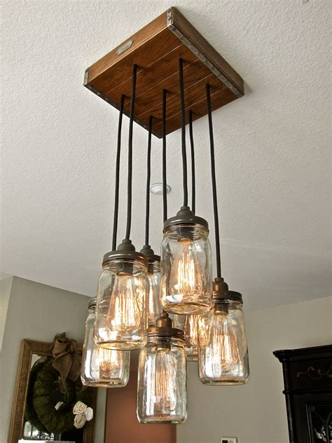 Diy Rustic Chandelier Jar Pendant Light Chandelier W Rustic Style Hardwood