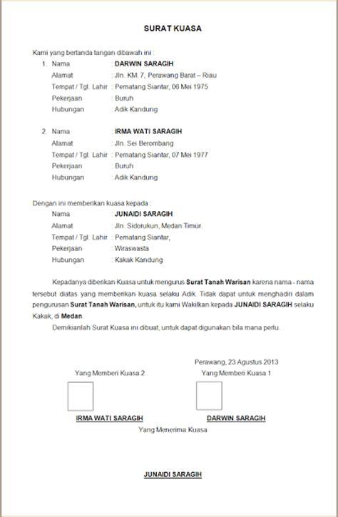 contoh surat kuasa quot mewakilkan pengurusan tanah