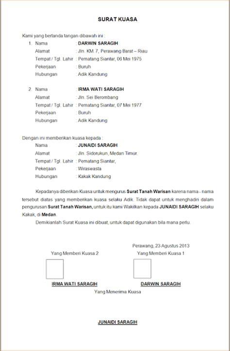 contoh surat kuasa warisan wisata dan info sumbar