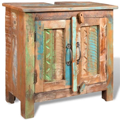 armadietto in legno armadietto in legno di recupero solido per bagno con