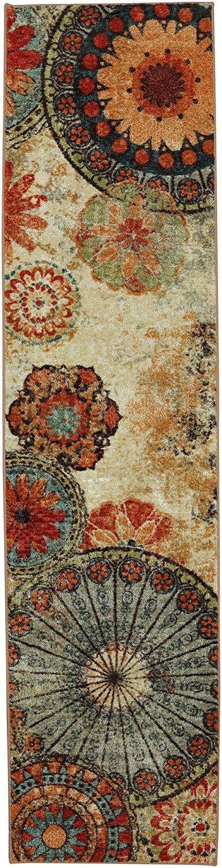 caravan medallion multi area rug mohawk home strata caravan medallion printed rug 2 x8 multi ebay