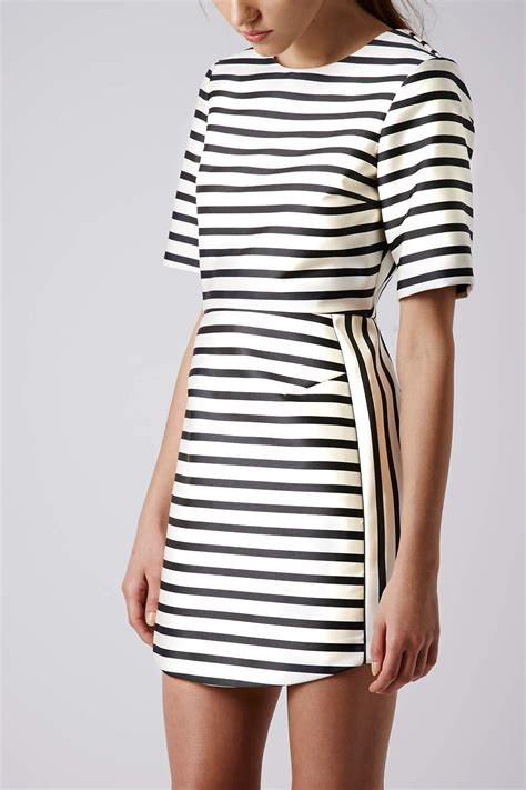 Stripi Dres Black topshop satin stripe aline dress in lyst