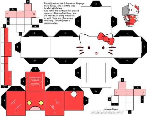 Free Paper Craft - cubeecraft hello paper fr