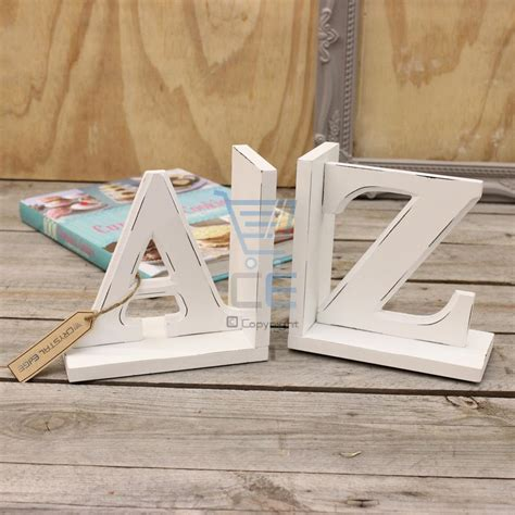 a to z bookends distressed white wooden pair of book ends
