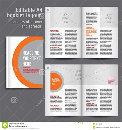 A4 Booklet Layout Design Template With Cover Stock Vector Illustration Of Element Elegant Booklet Template