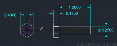 autocad nut tutorial how to draw hexagon bolt