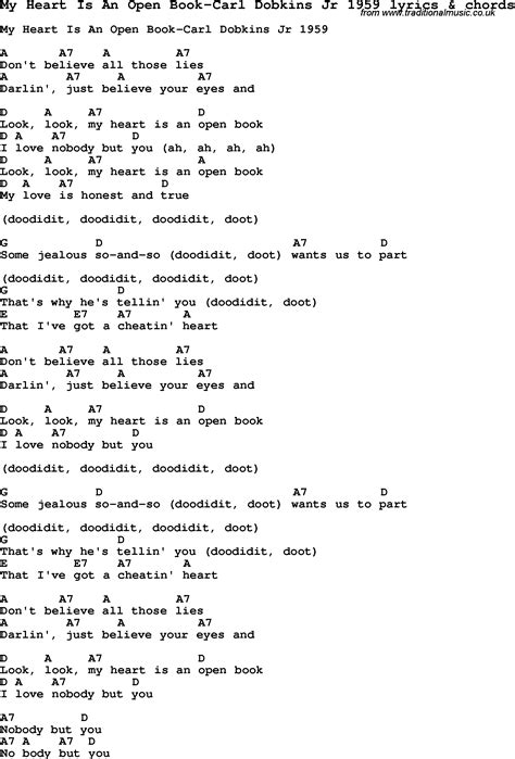 my lyrics carl song lyrics for my is an open book carl dobkins